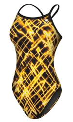 TYR Women's Sting Ray Diamondback Swimsuit - Adult (Black/Yellow (069))