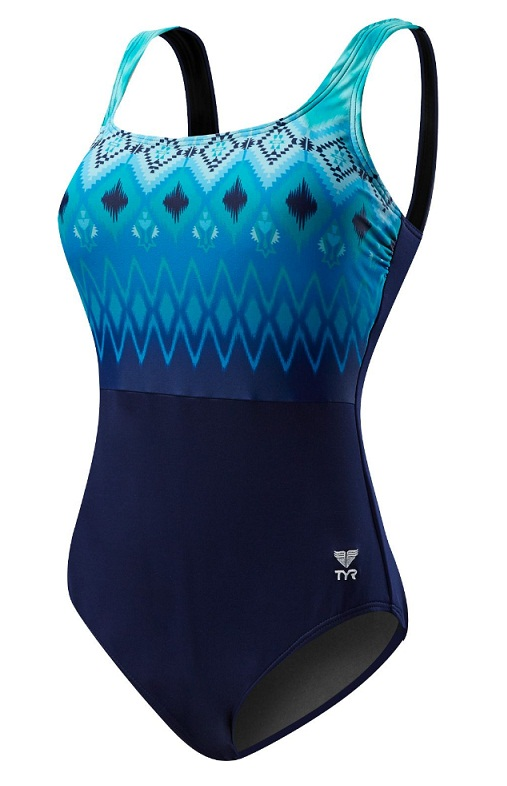 TYR Women's Baltic Stripe Aqua Controlfit Swimsuit (Navy/Turquoise (416))